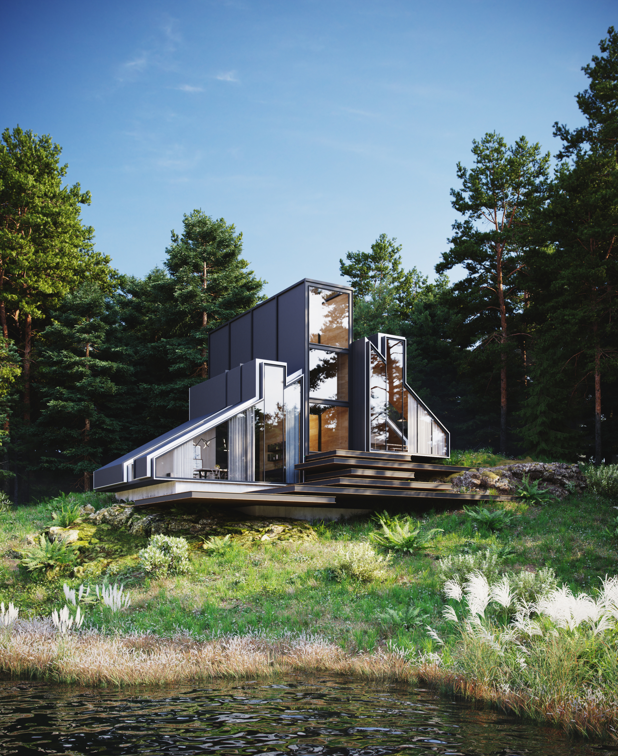 3d rendering House in forest image
