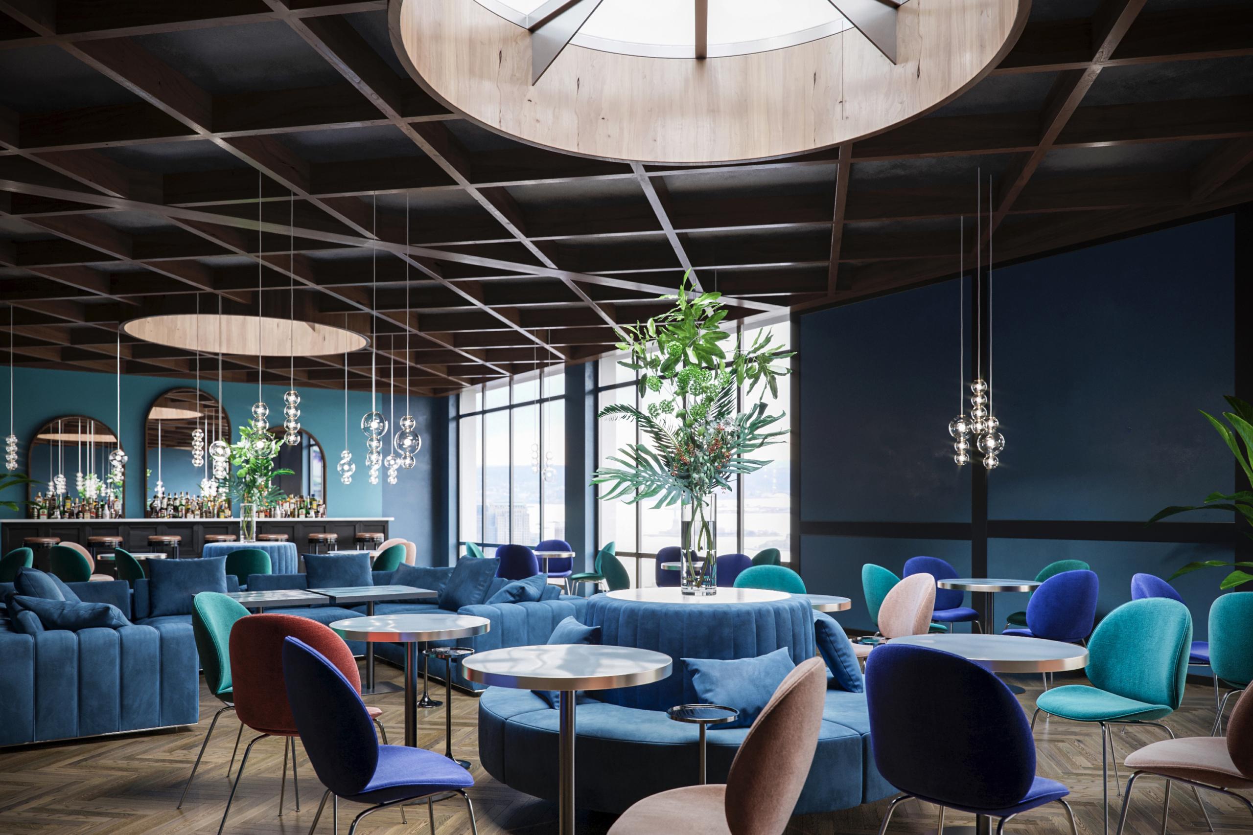 Restaurant on the 40-th floor. New-York. USA